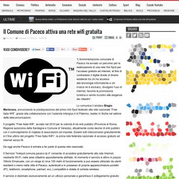 Il Comune di Paceco attiva la rete WiFi gratuita grazie ad Integrys.it