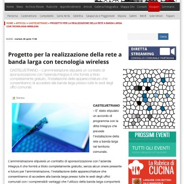 Castelvetrano: rete a banda larga con la tecnologia wireless di Integrys.it