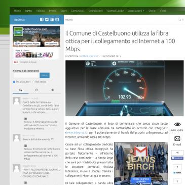 Il Comune di Castelbuono utilizza la fibra ottica per il collegamento ad Internet a 100 Mbps grazie a Integrys.it