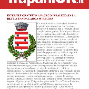 Internet gratuito a Paceco con la rete a banda Larga Integrys.it